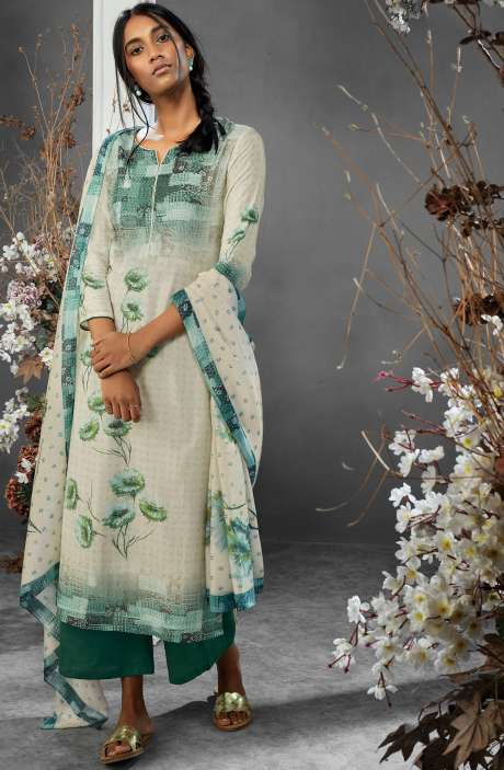 Digital Printed Silk and Satin Salwar Kameez In Cream and Bottle Green - TIL7735R