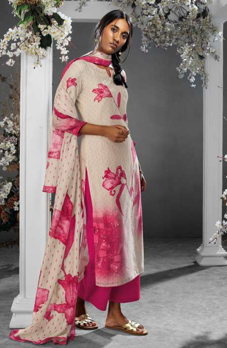 Digital Printed Silk and Satin Salwar Kameez In Beige & Pink - TIL7736R