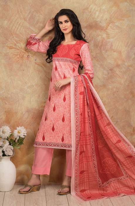 Cotton Digital Printed Salwar Kameez In Pink - TRI1925A