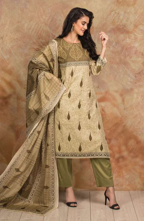 Cotton Digital Printed Salwar Kameez In Mehndi Green - TRI1925B