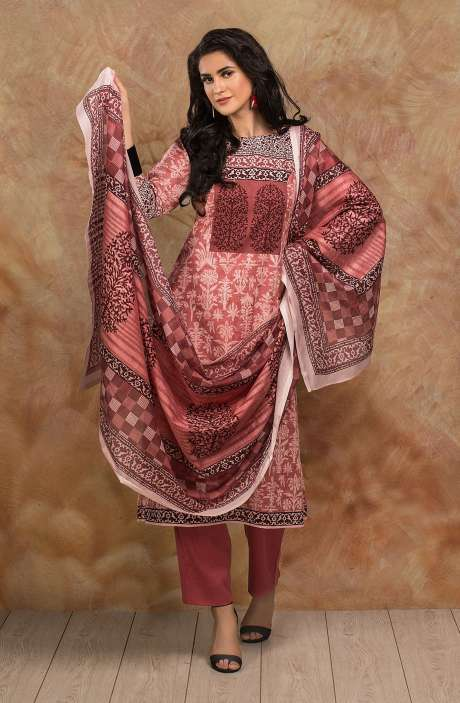 Cotton Digital Printed Salwar Kameez In Pink - TRI1926A
