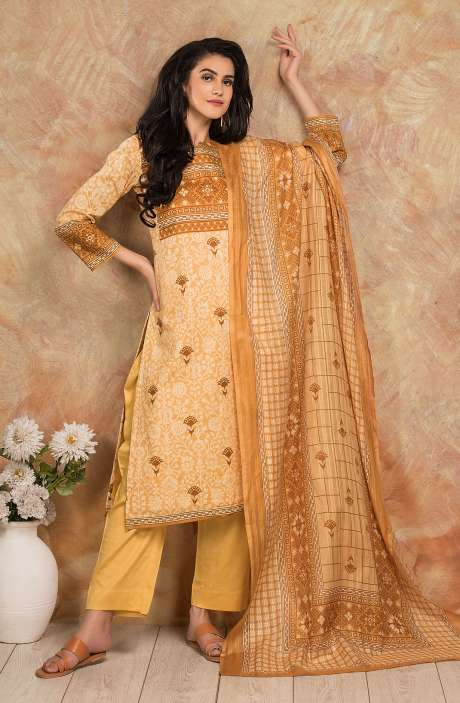 Cotton Digital Printed Salwar Kameez In Mustard - TRI1927A