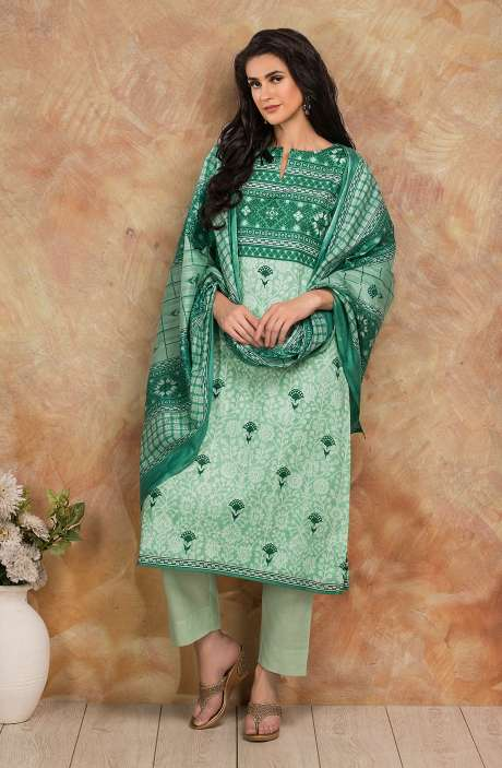 Cotton Digital Printed Salwar Kameez In Green - TRI1927B