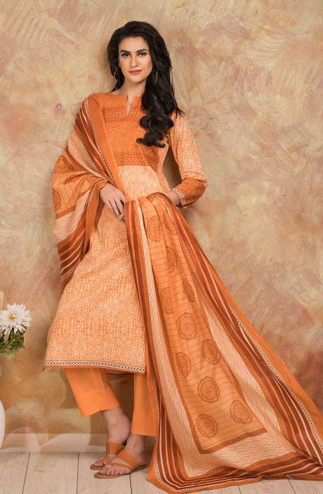 Cotton Digital Printed Salwar Kameez In Orange - TRI1928B