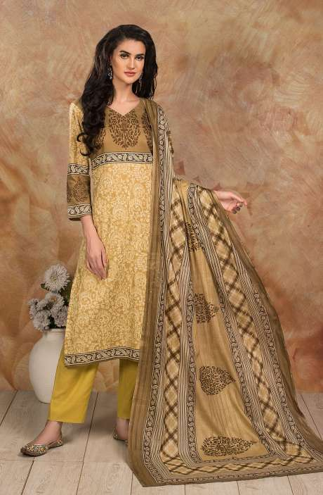 Cotton Digital Printed Salwar Kameez In Mehndi - TRI1929B