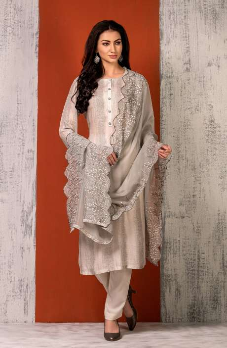 Semi-stitched Exclusive Modal Cotton Trendy Suit Set In Cream & Grey - TRI8633