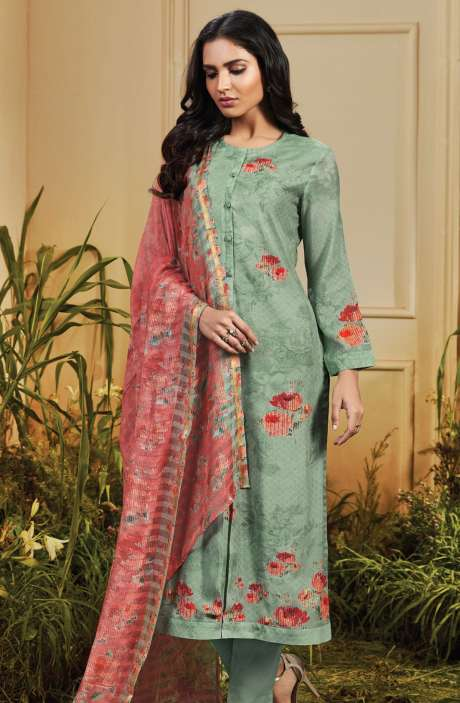 Cotton Satin Digital Printed Pastel Green Unstitched Salwar Kameez - TRO601