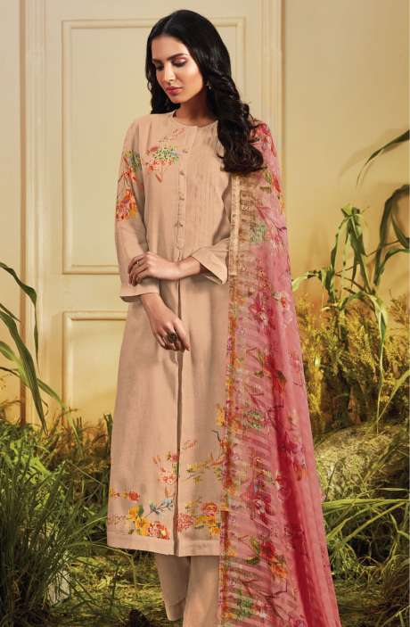 Cotton Satin Digital Printed Fawn Unstitched Salwar Kameez - TRO610
