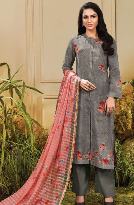 Cotton Satin Digital Printed Grey Unstitched Salwar Suit - TRO625