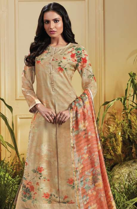 Cotton Satin Digital Printed Beige Unstitched Salwar Kameez - TRO650