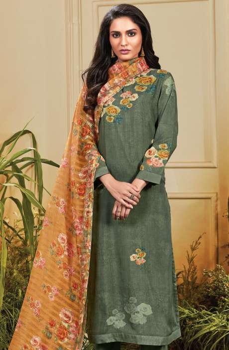 Cotton Satin Digital Printed Olive Green Unstitched Salwar Kameez - TRO672