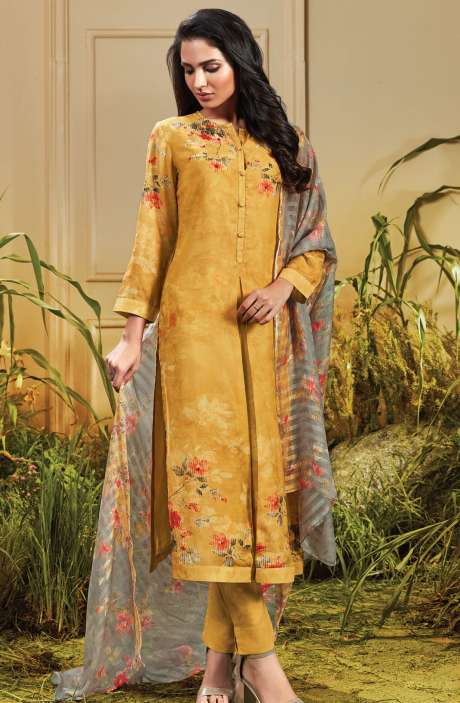 Cotton Satin Digital Printed Mustard Yellow Unstitched Salwar Kameez - TRO699