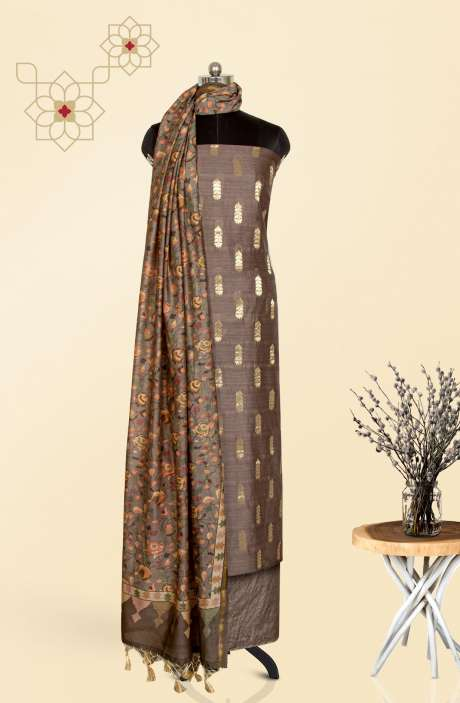 Chanderi Festivewear Salwar Kameez In Grey with Trendy Dupatta - TRSCHN1034B