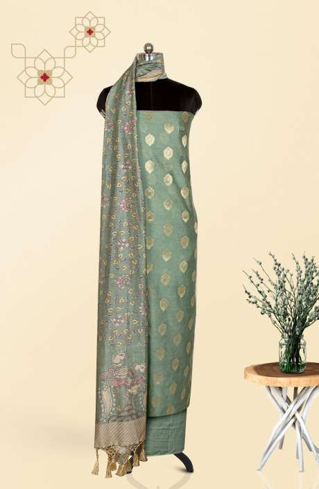 Chanderi Festivewear Salwar Kameez In Pastel Green with Trendy Dupatta - TRSCHN1038