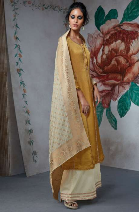 Partywear Cotton Silk Wedding Collection Suit Sets In Mustard Yellow and Cream - TUR6834
