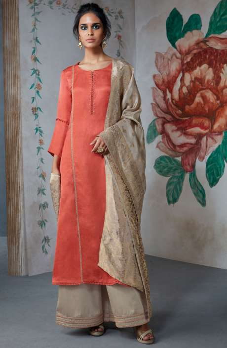 Casualwear Cotton Silk Wedding Collection Suit Sets In Coral and Brown - TUR6835-R