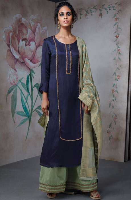 Partywear Cotton Silk Wedding Collection Suit Sets In Blue and Sea Green | TUR6838