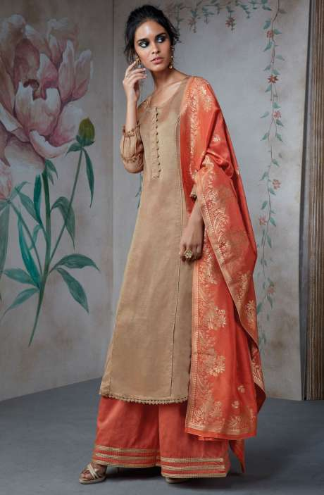 Partywear Cotton Silk Wedding Collection Suit Sets In Brown and Peach - TUR6839