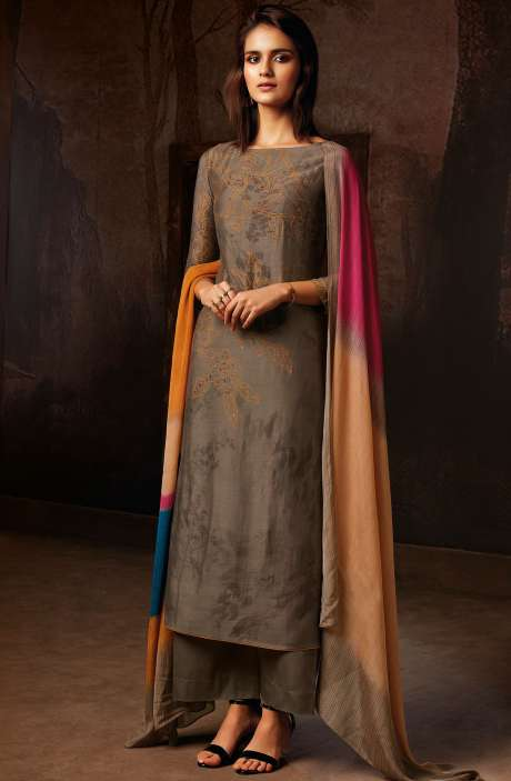 Silk Printed Unstitched Salwar Kameez In Brown - TVI8354