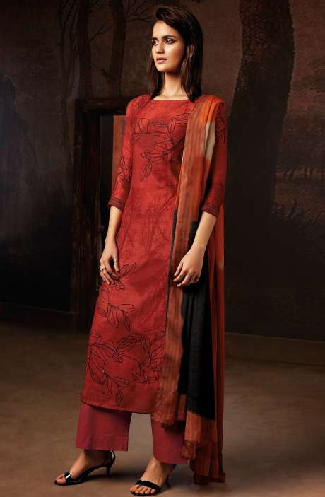 Cotton Silk Digital Printed Unstitched Salwar Kameez In Rust - TVI8357
