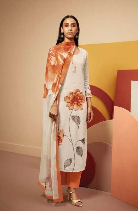 Cotton Linen Printed Salwar Kameez In Cream & Orange with Chiffon Dupatta - TWIS0364C