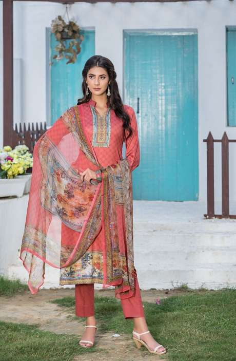 Casualwear Printed Glazed Cotton Salwar Kameez with Swarovski Work In Coral - UJJ1130