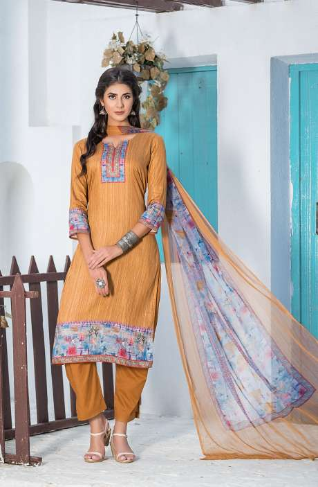 Casualwear Printed Glazed Cotton Salwar Kameez with Swarovski Work In Brown - UJJ1131