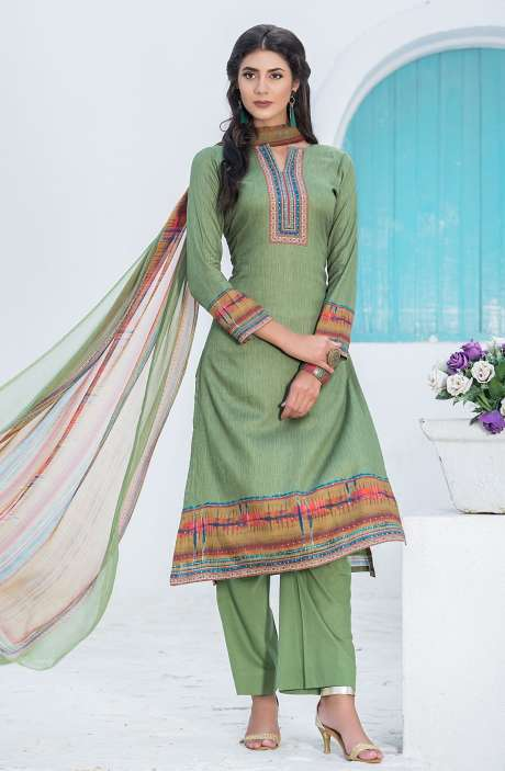 Casualwear Printed Glazed Cotton Salwar Kameez with Swarovski Work In Green - UJJ1132