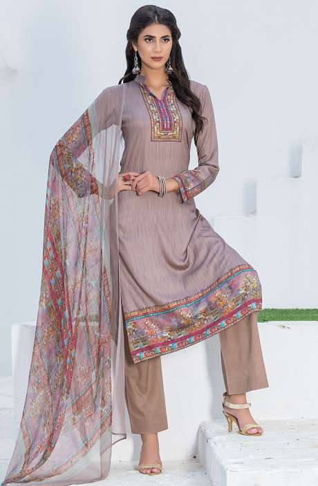 Casualwear Printed Glazed Cotton Salwar Kameez with Swarovski Work In Fawn - UJJ1134
