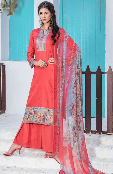 Casualwear Printed Glazed Cotton Salwar Kameez with Swarovski Work In Red - UJJ1135