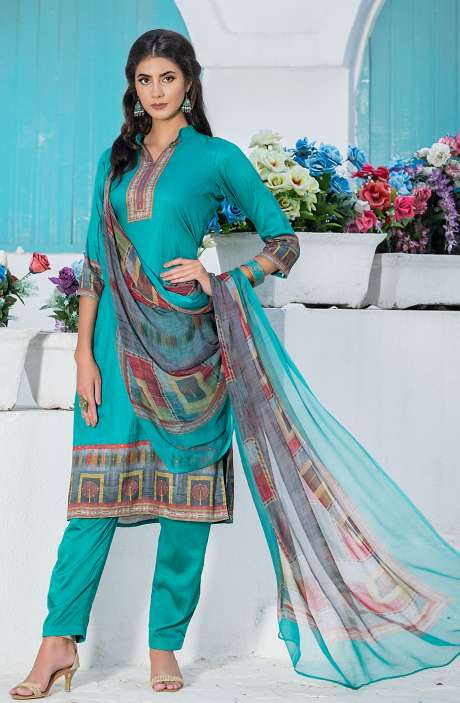 Casualwear Printed Glazed Cotton Salwar Kameez with Swarovski Work In Firozi - UJJ1136