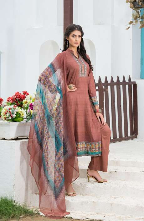 Casualwear Printed Glazed Cotton Salwar Suit with Swarovski Work In Brown - UJJ1137