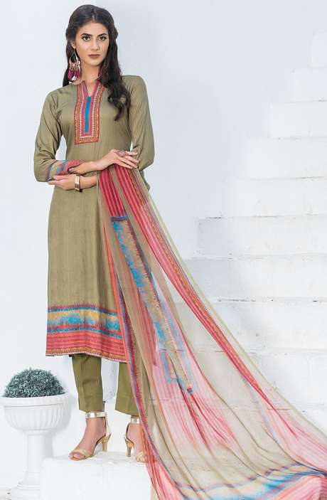 Casualwear Printed Glazed Cotton Salwar Kameez with Swarovski Work In Mehndi Green - UJJ1138