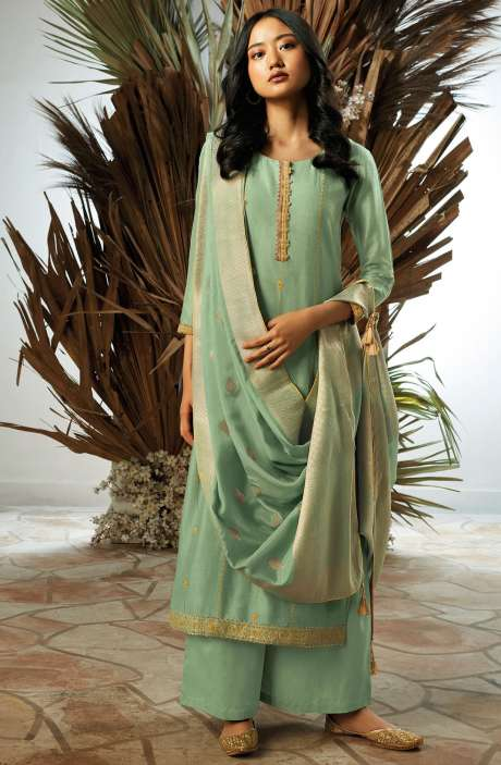 Bamberg Silk Zari, Thread Embroidery & Swarovski Work Suit Sets with Banarasi Jacquard Dupatta In Green - UKI7833