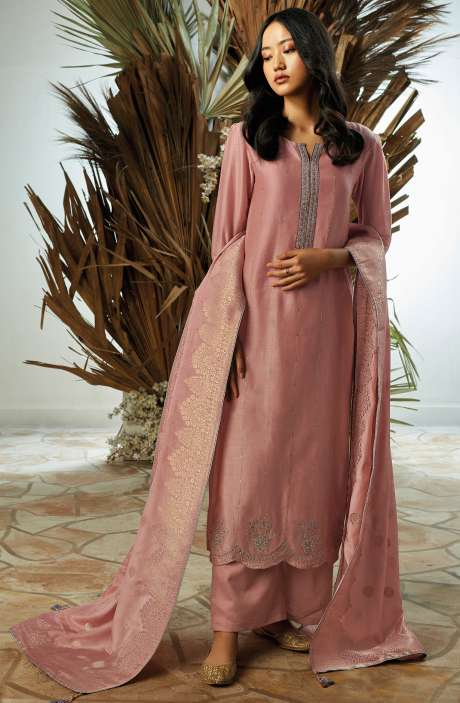 Bamberg Silk Zari, Thread Embroidery & Swarovski Work Suit Sets with Banarasi Jacquard Dupatta In Pink - UKI7834
