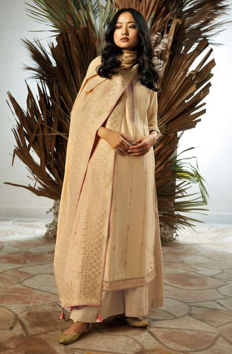 Bamberg Silk Zari, Thread Embroidery & Swarovski Work Suit Sets with Banarasi Jacquard Dupatta In Beige - UKI7836
