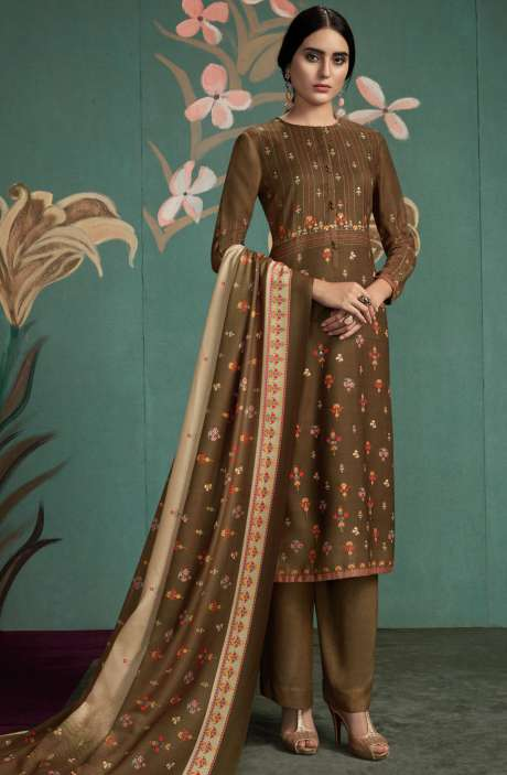 Spun Digital Printed Salwar Kameez In Brown - UKT815