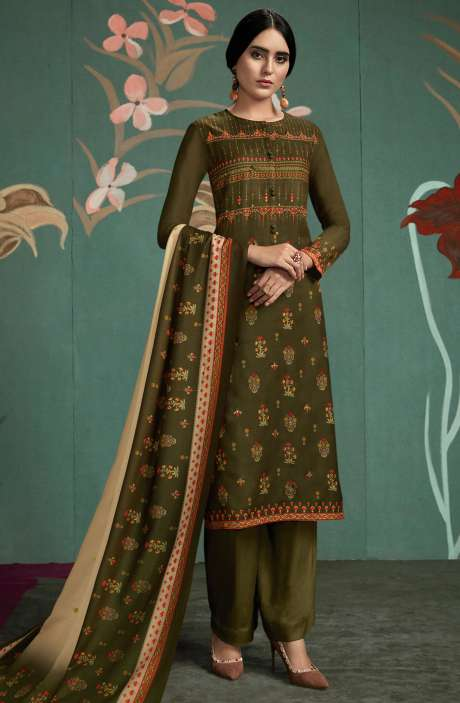 Spun Digital Printed Salwar Suit In Mehndi Green - UKT838