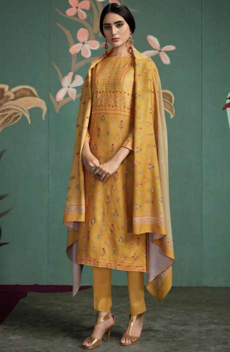 Spun Digital Printed Salwar Kameez In Mustard Yellow - UKT842