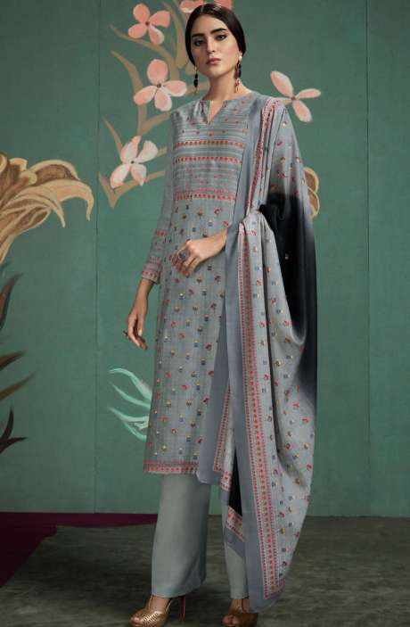 Spun Digital Printed Salwar Kameez In Grey - UKT845