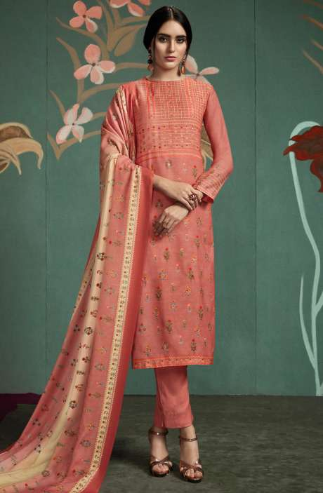 Spun Digital Printed Salwar Kameez In Peach - UKT852