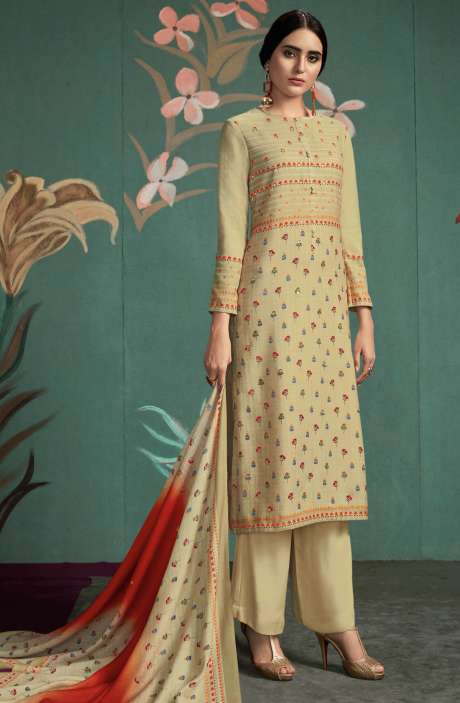 Spun Digital Printed Salwar Kameez In Cream - UKT865