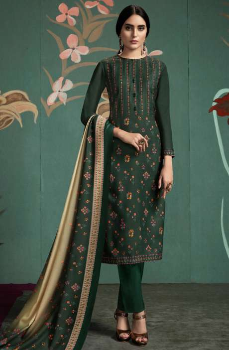 Spun Digital Printed Salwar Kameez In Bottle Green - UKT875