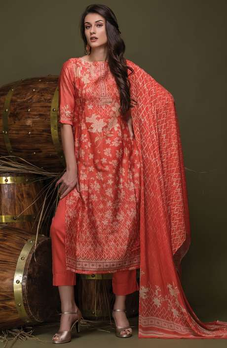Digital Floral Print with Swarovski Work Chanderi Coral and Beige Suit Sets - ULH2440R
