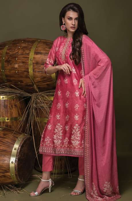 Digital Floral Print with Swarovski Work Chanderi Pink Suit Sets - ULH2442R