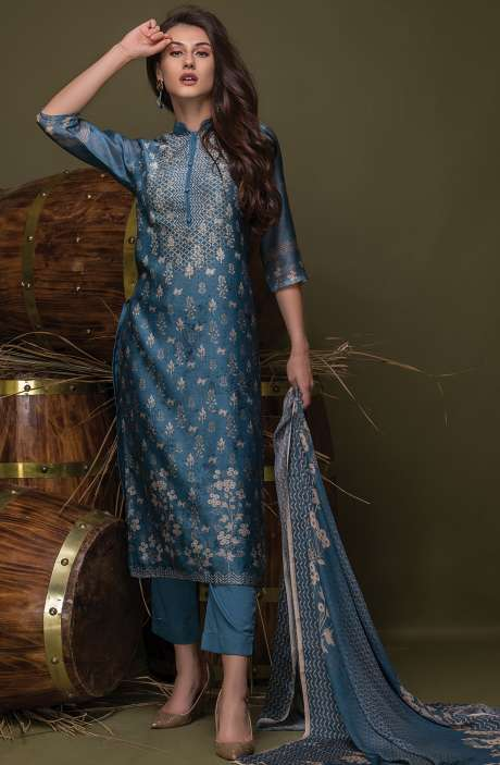 Digital Floral Print with Swarovski Work Chanderi Blue Suit Sets - ULH2443R