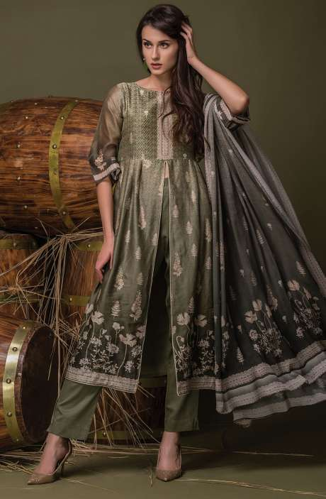 Digital Floral Print with Swarovski Work Chanderi Olive Suit Sets - ULH2445R