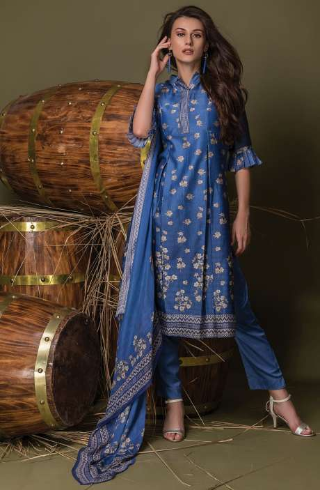 Digital Floral Print with Swarovski Work Chanderi Royal Blue Suit Sets - ULH2446R
