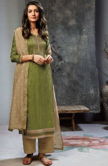 Designer Satin Silk Salwar Suit with Zari & Sequins Work In Mehndi Green and Brown - UNS6849R