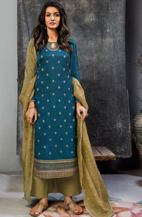 Designer Satin Silk and Glazed Cotton Salwar Suit with Zari & Sequins Work In Blue and Mehndi Green - UNS6851